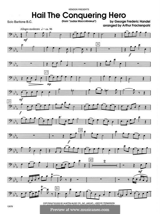 Judas Maccabaeus, HWV 63: Hail The Conquering Hero, for baritone and piano - solo baritone B.C. part by Georg Friedrich Händel