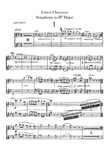 Symphony in B Flat Major, Op.20: Oboes and cor anglais parts by Ernest Chausson