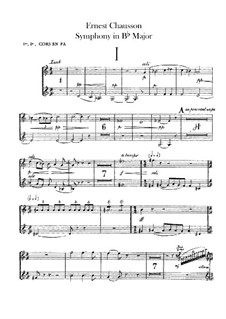 Symphony in B Flat Major, Op.20: Horns parts by Ernest Chausson