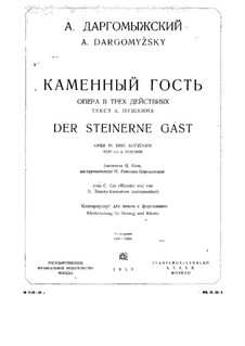 The Stone Guest: Piano-vocal score by Alexander Dargomyzhsky