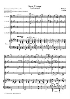 Salut d'amour (Love's Greeting), Op.12: For four violins and piano by Edward Elgar