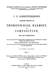 Collected Writings on Thorough-Bass, Harmony and Composition: Volume I by Johann Georg Albrechtsberger