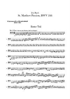 Complete Oratorio: Orchestra I, Cello, Double Bass, Cello Solo (or Viola da gamba) Parts by Johann Sebastian Bach