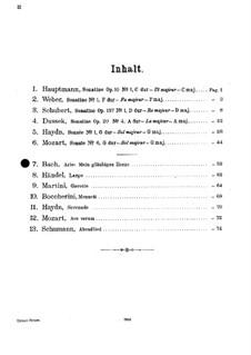 Also hat Gott die Welt geliebt (God so Loved the World), BWV 68: Air 'Mein gläubiges Herze'. Arrangement for violin and piano by Johann Sebastian Bach