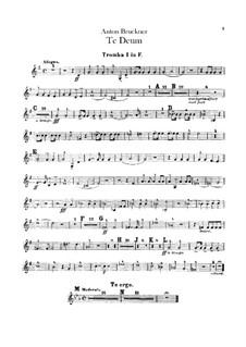 Te Deum Laudamus, WAB 45: Trumpets parts by Anton Bruckner
