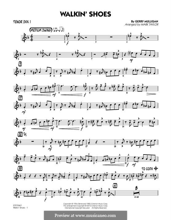 Walkin' Shoes: Tenor Sax 1 part by Gerry Mulligan