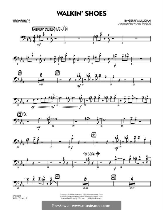 Walkin' Shoes: Trombone 2 part by Gerry Mulligan