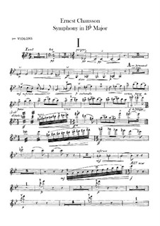 Symphony in B Flat Major, Op.20: Violins I part by Ernest Chausson