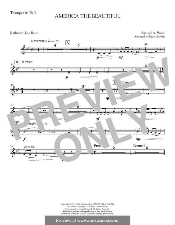 America, The Beautiful (arr. Ryan Nowlin): Bb Trumpet 3 part by Samuel Augustus Ward