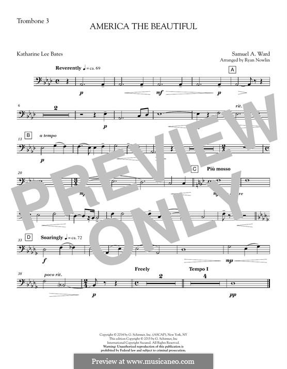 America, The Beautiful (arr. Ryan Nowlin): Trombone 3 part by Samuel Augustus Ward