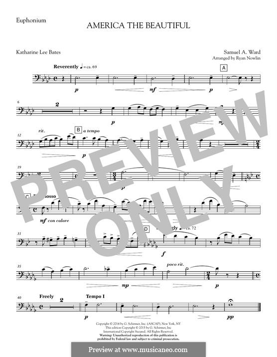 America, The Beautiful (arr. Ryan Nowlin): Euphonium part by Samuel Augustus Ward