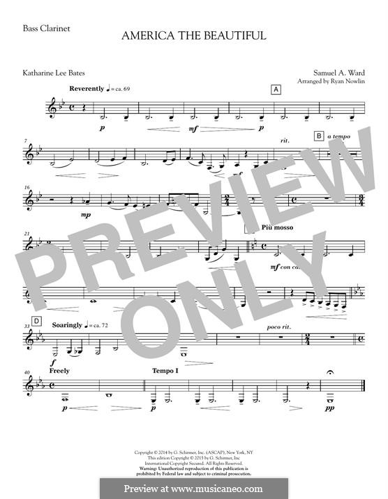 America, The Beautiful (arr. Ryan Nowlin): Bass Clarinet in Bb part by Samuel Augustus Ward