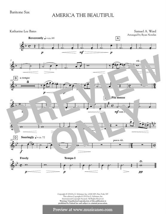 America, The Beautiful (arr. Ryan Nowlin): Baritone Sax part by Samuel Augustus Ward