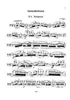 Nocturnes, Op.15: No.2, for cello and piano – solo part by Frédéric Chopin