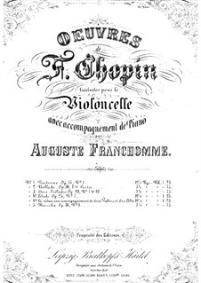 No.7 in C Sharp Minor: Arrangement for cello and piano by Frédéric Chopin