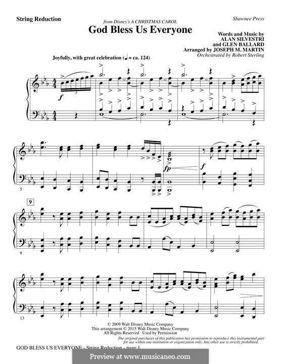 God Bless Us Everyone (from Disney's A Christmas Carol): Keyboard String Reduction by Andrea Bocelli, Joseph M. Martin