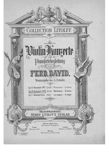 Concerto for Violin and Orchestra No.5 in D Minor, Op.35: Version for violin and piano by Ferdinand David