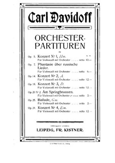 Cello Concerto No.3 in D Major, Op.18: Full score by Karl Julevich Davydov