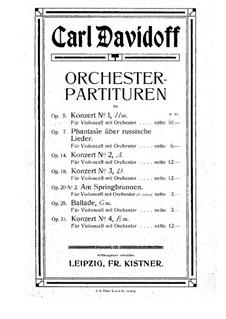 Cello Concerto No.1 in B Minor, Op.5: Full score by Karl Julevich Davydov