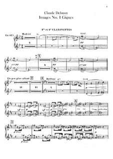 Set III, No.1 Gigues, L.122: Clarinets parts by Claude Debussy