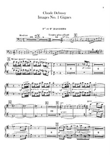 Set III, No.1 Gigues, L.122: Bassoons parts by Claude Debussy