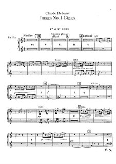 Set III, No.1 Gigues, L.122: French horns parts by Claude Debussy