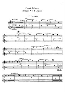 Set III, No.1 Gigues, L.122: Violins I part by Claude Debussy