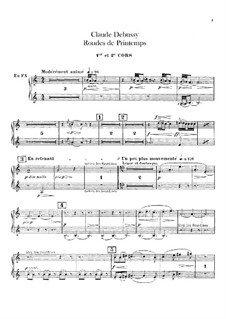 Set III, No.3 Rondes du printemps, L.122: Horns parts by Claude Debussy