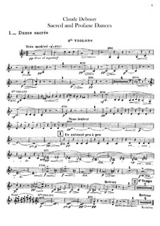 Two Dances for Harp and String Quintet, L.103: Violins II part by Claude Debussy