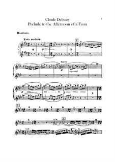 Prélude à l'après-midi d'un faune (Prelude to the Afternoon of a Faun), L.86: Oboes and cor anglais parts by Claude Debussy