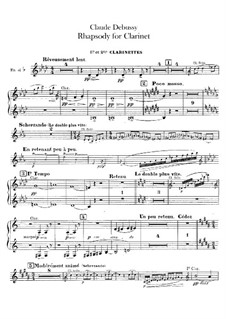 Rhapsody No.1 in G Flat Major, L.116: Clarinets parts by Claude Debussy