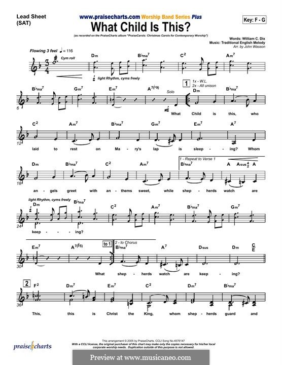 What Child is This (Christmas Carol): For keyboard by folklore