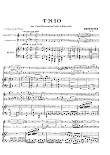Trio for Clarinet, Cello and Piano No.4 'Gassenhauer' , Op.11: Full score by Ludwig van Beethoven
