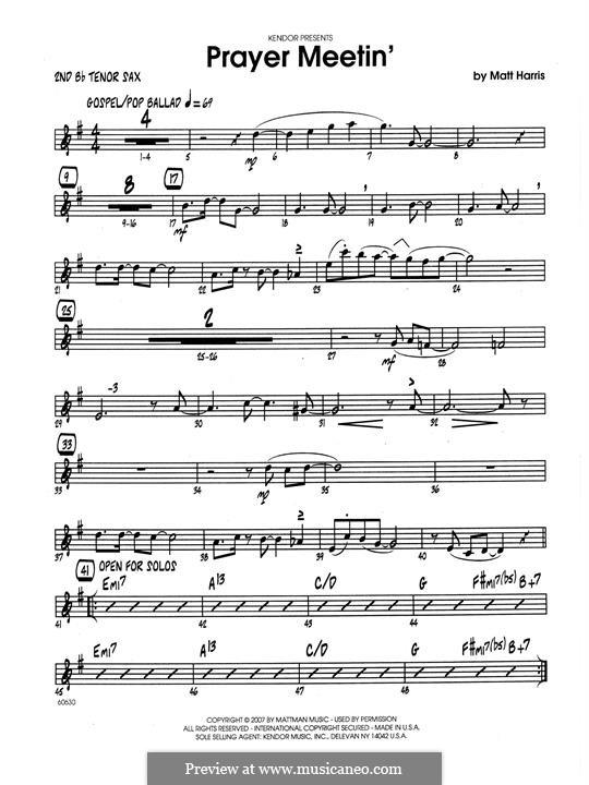 Prayer Meetin': 2nd Bb Tenor Saxophone part by Matthew Harris