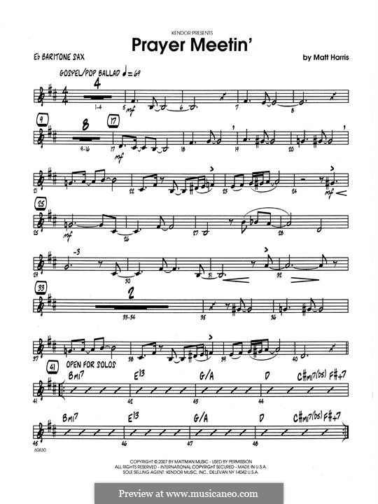 Prayer Meetin': Eb Baritone Saxophone part by Matthew Harris