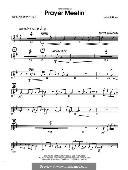Prayer Meetin': 2nd Bb Trumpet part by Matthew Harris