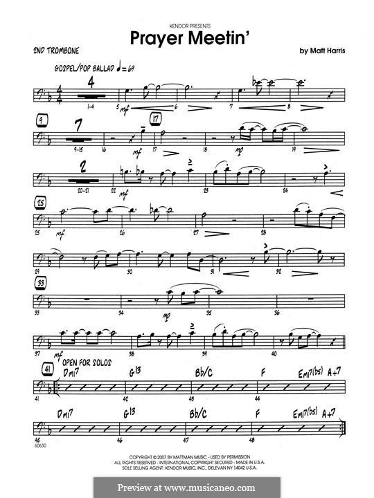 Prayer Meetin': 2nd Trombone part by Matthew Harris