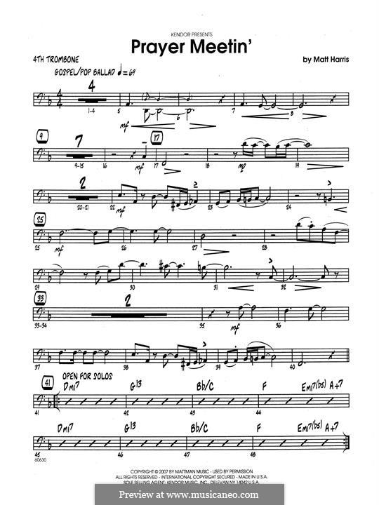 Prayer Meetin': 4th Trombone part by Matthew Harris