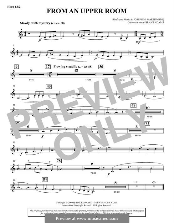 From An Upper Room (from Lenten Sketches): F Horn 1 & 2 part by Joseph M. Martin