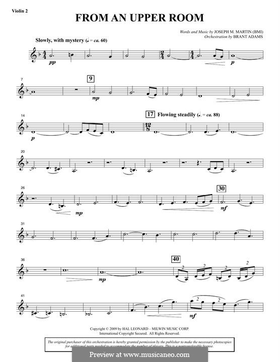 From An Upper Room (from Lenten Sketches): Violin 2 part by Joseph M. Martin