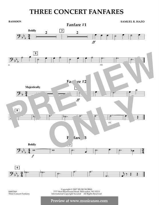 Three Concert Fanfares: Bassoon part by Samuel R. Hazo