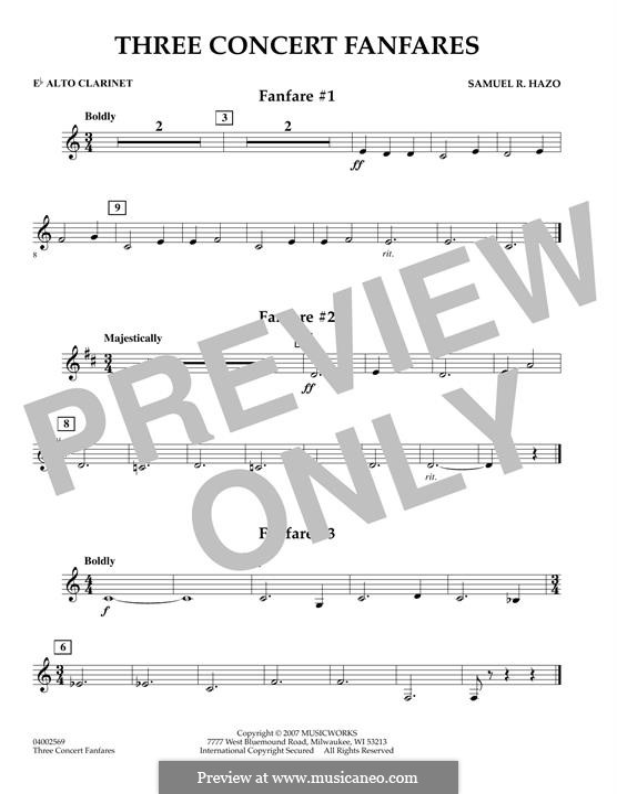 Three Concert Fanfares: Eb Alto Clarinet part by Samuel R. Hazo
