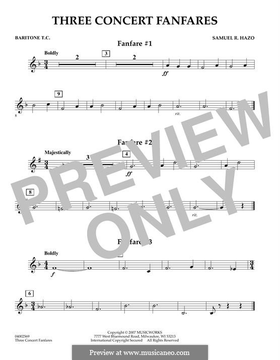 Three Concert Fanfares: Baritone T.C. part by Samuel R. Hazo