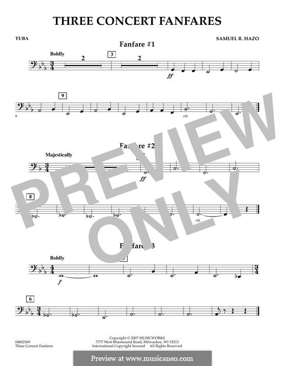 Three Concert Fanfares: Tuba part by Samuel R. Hazo