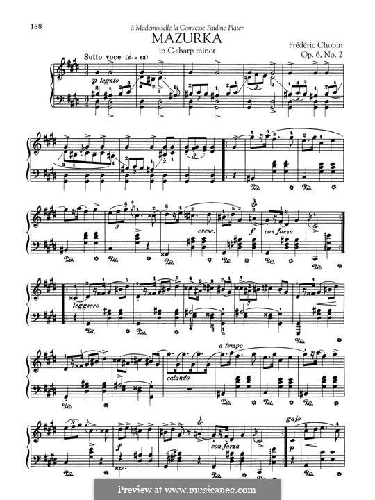 Mazurkas, Op.6: No.2 in C Sharp Minor by Frédéric Chopin