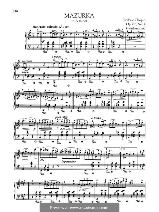 Mazurkas, Op. posth.67: No.4 in A Minor by Frédéric Chopin