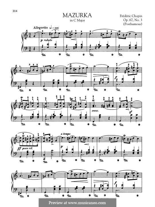 Mazurkas, Op. posth.67: No.3 in C Major by Frédéric Chopin