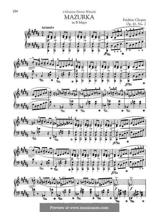 Mazurkas, Op.41: No.3 in B Major by Frédéric Chopin