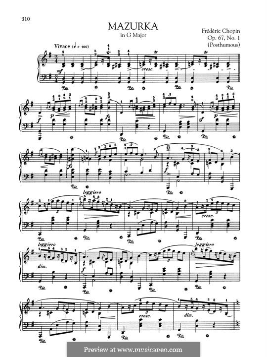 Mazurkas, Op. posth.67: No.1 in G Major by Frédéric Chopin