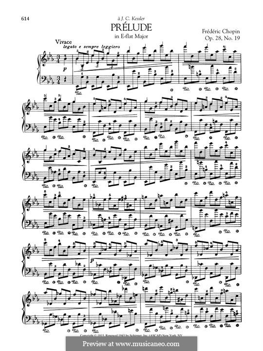 No.19 in E Flat Major: For piano by Frédéric Chopin